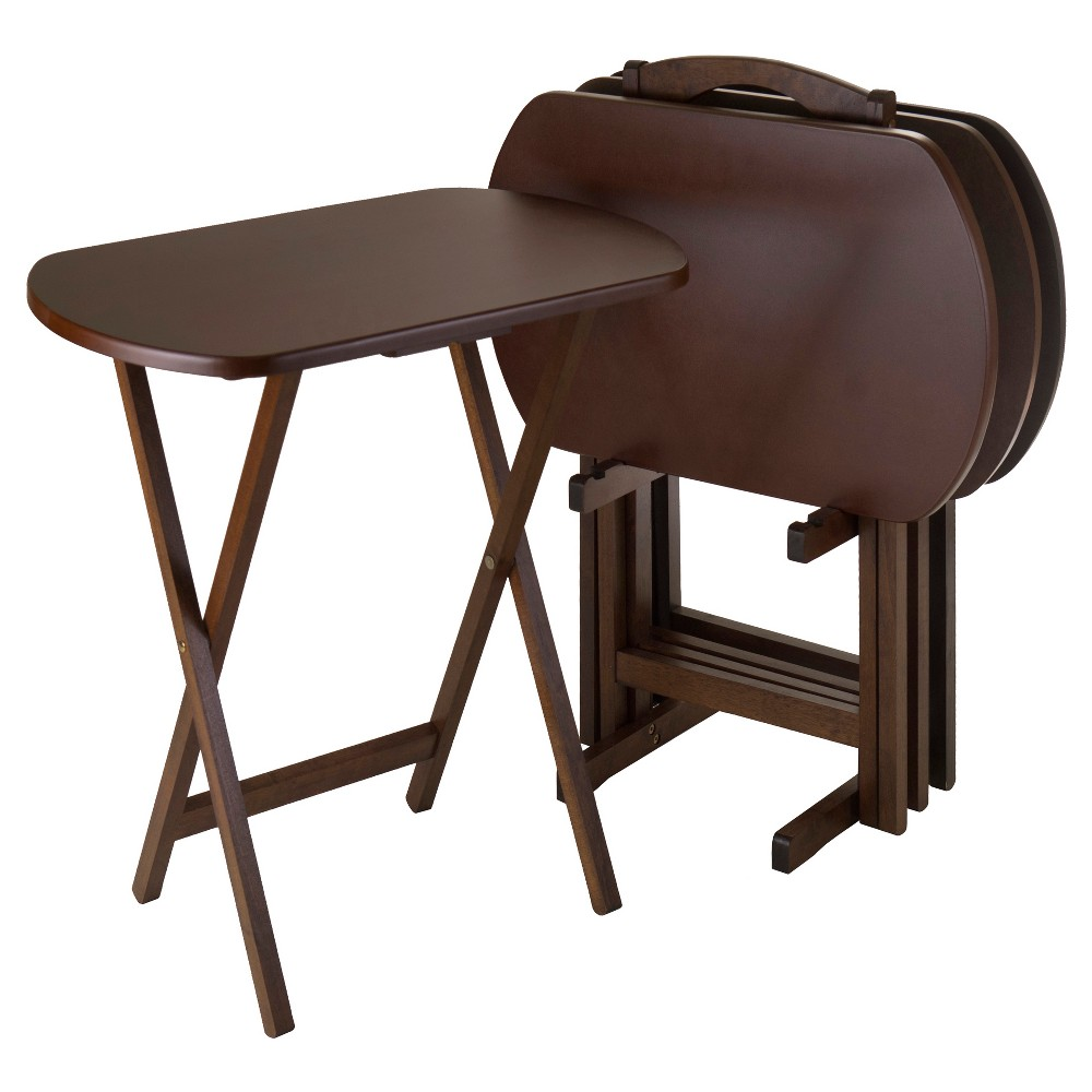 Image of Corbett 4 Piece Oversize Oblong Snack Table Set - Antique Walnut - Winsome, Brown