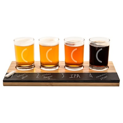 Cathy's Concepts 4pc Monogram Bamboo & Slate Craft Beer Tasting Flight C