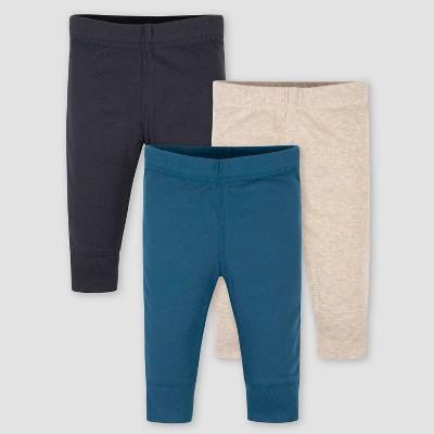 Gerber Baby Boys' 3pk Fox Pull-On Pants - Blue/Gray 0-3M
