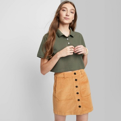 Women's Short Sleeve Boxy Cropped Polo T-Shirt - Wild Fable™