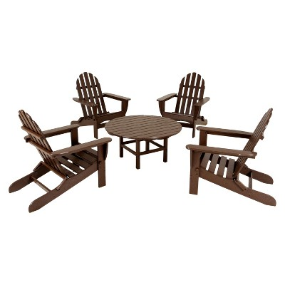 POLYWOOD® 5-Piece Adirondack Conversation Furniture Set - Dark Brown