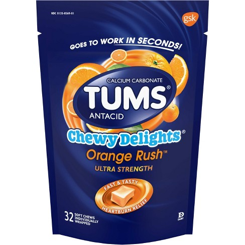 TUMS Ultra Strength Chewy Delights Extra Strength Antacid Orange Creme 32ct - image 1 of 2