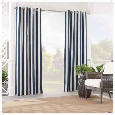 "84""x52"" Solstice Stripe Light Filtering Curtain Panel Indigo - Waverly Sun n Shade"
