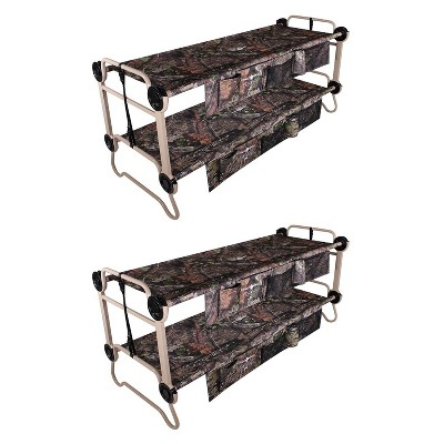 Disc O Bed Large Cam-O-Bunk 82 x 36 Inch Portable Folding Bunked Double Camping Cot Bed with 2 Organizers, and 2 Carry Bags, Mossy Oak