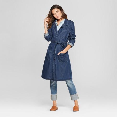 Women s Denim Trench Coat - Universal Thread™ Medium Wash   Target 81e9e77e16