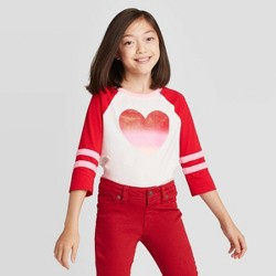 Girls' 3/4 Sleeve Sparkle Heart Baseball T-Shirt - Cat & Jack™ Cream