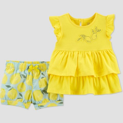 Baby Girls' Lemons Top & Bottom Set - Just One You® made by carter's Yellow