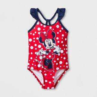 Toddler Girls' Minnie Mouse One Piece Swimsuit - Red 3T
