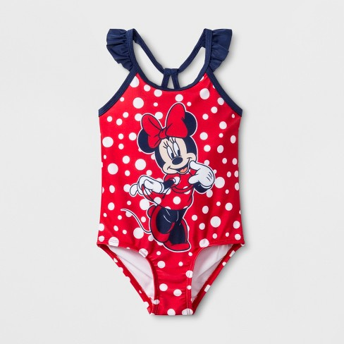 Toddler Girls' Minnie Mouse One Piece Swimsuit - Red - image 1 of 2