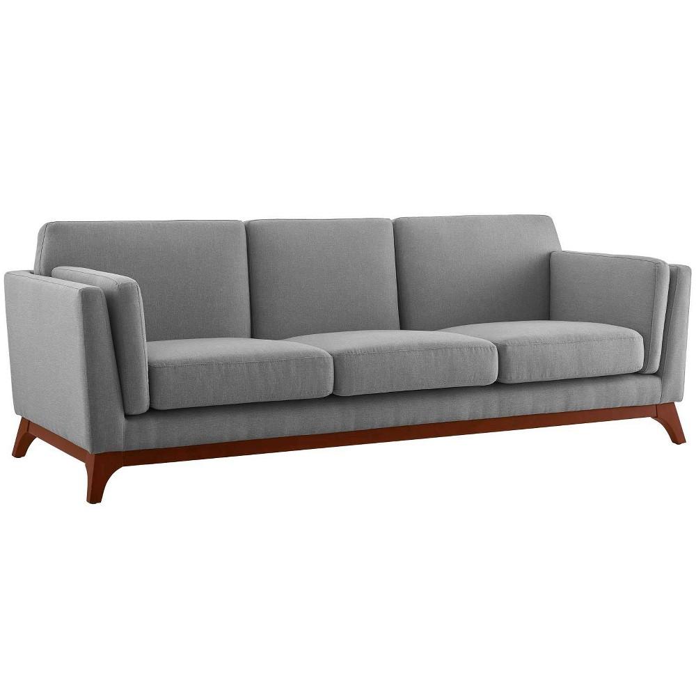 Chance Upholstered Fabric Sofa Light Gray - Modway