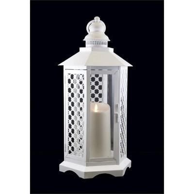 "Northlight 16"" White Floral Lattice Lantern with Luminara Flameless LED Lighted Candle"