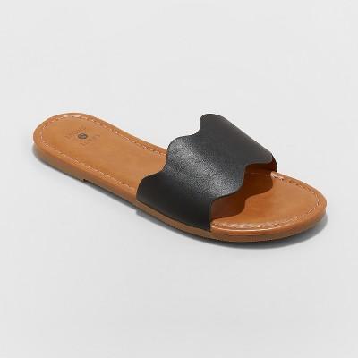 Women's Kate Scalloped Slide Sandals - Shade & Shore™ Black 7