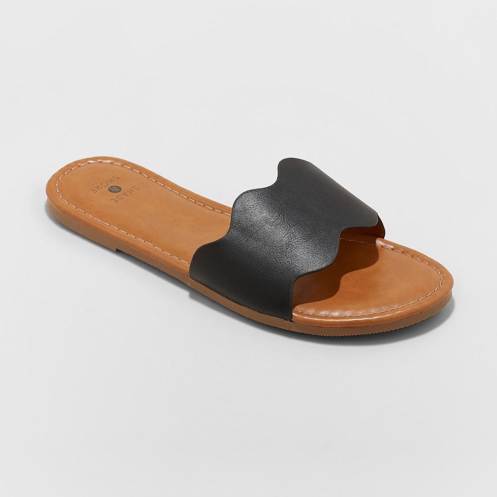 Women's Kate Scalloped Slide Sandals - Shade & Shore Black 8