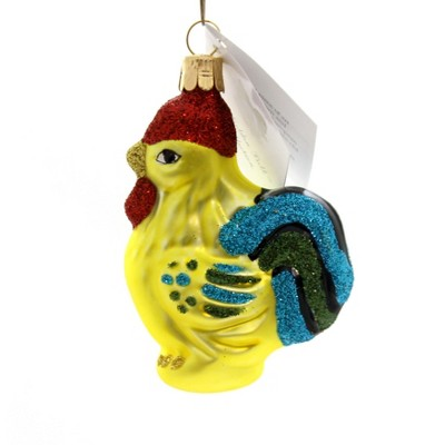 """Golden Bell Collection 3.25"""" Yellow Rooster Ornament Neon Chicken  -  Tree Ornaments"""