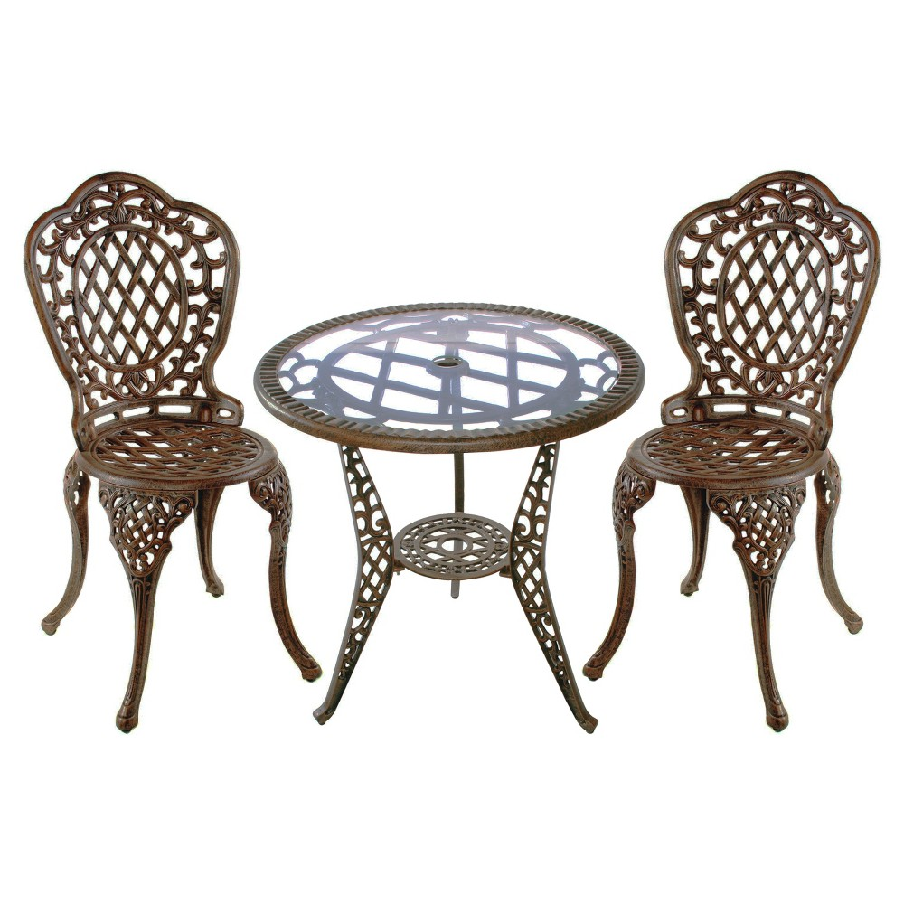 Mississippi 3-Piece Cast Aluminum Patio Bistro Furniture Set