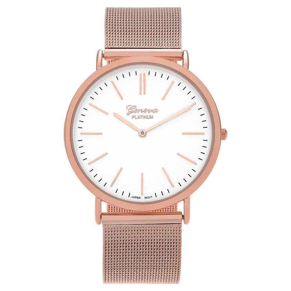 Women's Geneva Platinum Round Face Mesh Strap Watch - Rose Gold