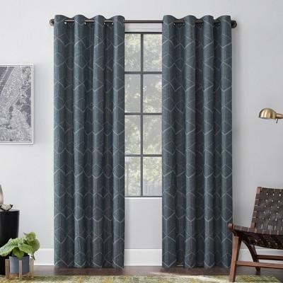 "84""x52"" Elkay Woven Geometric Pattern Total Blackout Grommet Curtain Panel Teal - Scott Living"