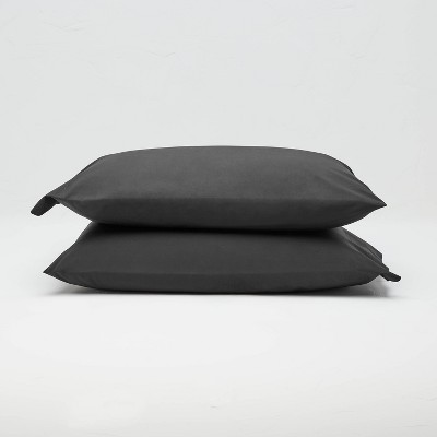 King Washed Supima Percale Solid Pillowcase Set Washed Black - Casaluna™