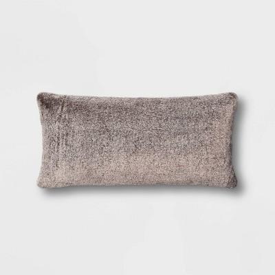 Faux Rabbit Fur Oversize Lumbar Pillow Black - Threshold™