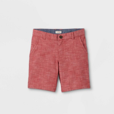Boys' Flat Front Chino Shorts - Cat & Jack™ Warm Red