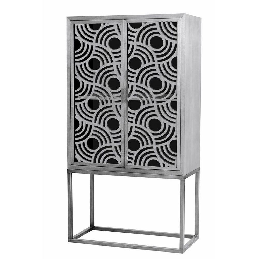 Wooden/Metal 2 Door Cabinet Silver - Home Source Industries, Brown