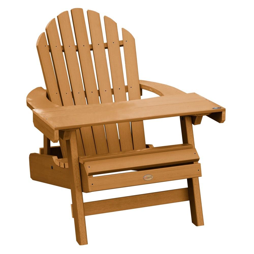 Hamilton Folding & Reclining Adirondack Chair with Adirondack Laptop/Reading Table Toffee - Highwood