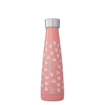 S'ip by S'well Vacuum Insulated Stainless Steel Hydration Bottle Look at Meow 15oz - Pink