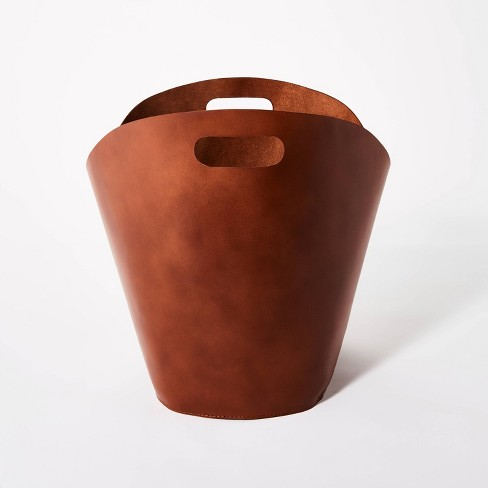 """Decorative Leather Basket 14.75"""" x 15"""" Brown - Threshold™ designed with Studio McGee - image 1 of 4"""