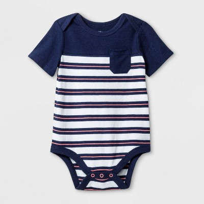 Baby Boys' Short Sleeve Rugby Striped Bodysuit - Cat & Jack™ Blue/White 3-6M