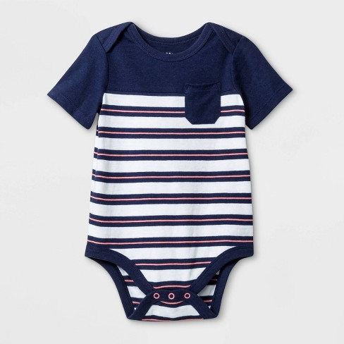 Baby Boys' Short Sleeve Rugby Striped Bodysuit - Cat & Jack™ Blue/White - image 1 of 1
