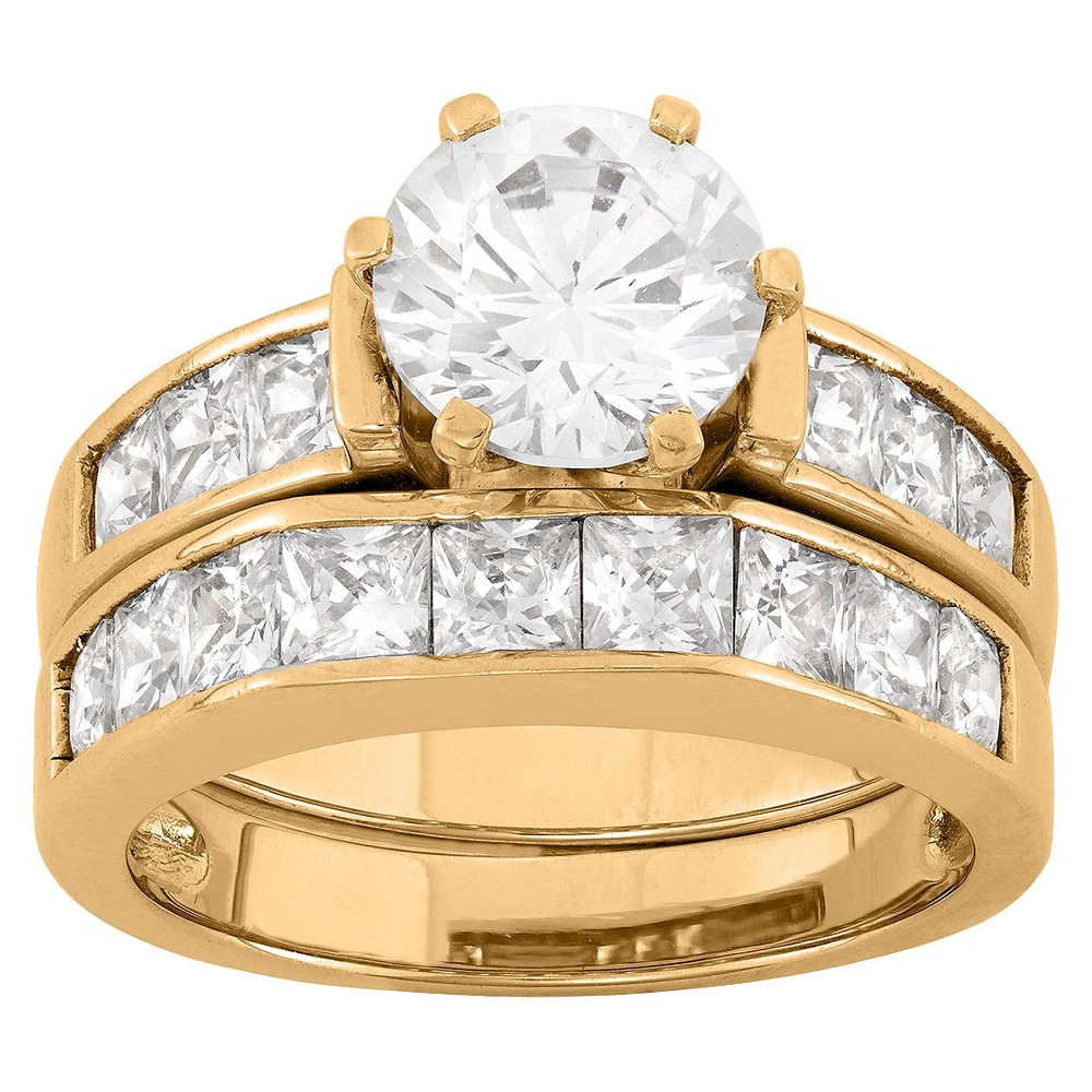 2 CT. T.W. Round-Cut Cubic Zirconia with Channel-Set Side Stones Bridal Set In 14K Gold Over Silver - (5), Girl's, Yellow