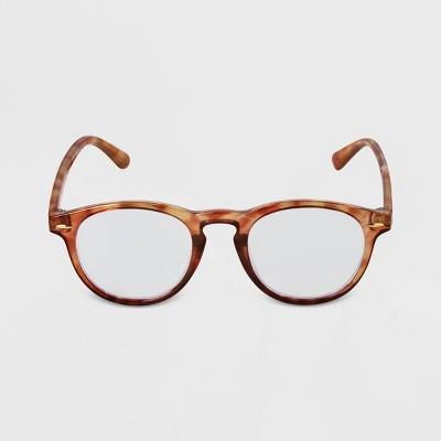 Men's Tortoise Shell Round Blue Light Filtering Glasses - Goodfellow & Co™ Brown