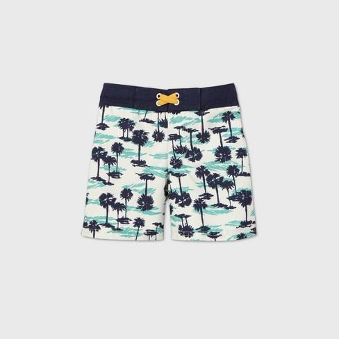 Toddler Boys' Palm Print Swim Trunks - Cat & Jack™ Blue/White - image 1 of 2