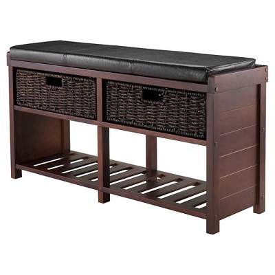 Colin Entryway Storage Bench With Cushion Cappuccino   Winsome