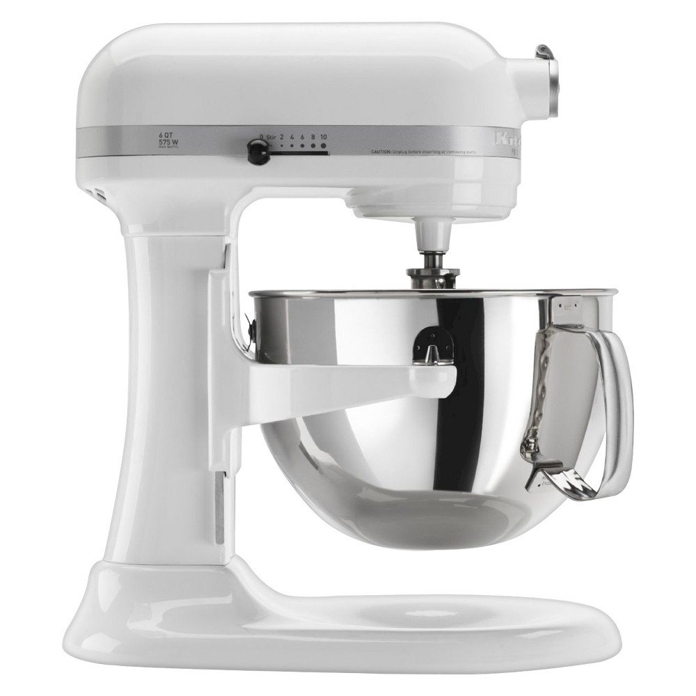KitchenAid Professional 600 Series 6-Quart Bowl-Lift Stand Mixer - KP26M1X, White The KitchenAid Professional 600 Series 6 Quart Bowl-Lift Stand Mixer is perfect for heavy, dense mixtures. It also offers the capacity to make up to 13 dozen cookies in a single batch and 10 speeds to thoroughly mix, knead and whip ingredients quickly and easily. For even more versatility, use the power hub to turn your stand mixer into a culinary center with over 10 optional hub powered attachments, from food grinders to pasta makers and more. Color: White.