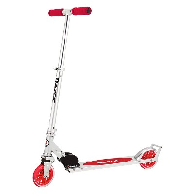 Razor A3 Lightweight Kick Push Folding Aluminum Portable Scooter for Kids with Foam Grip Handlebars, Rear Fender Brake, and Wheelie Bar, Red