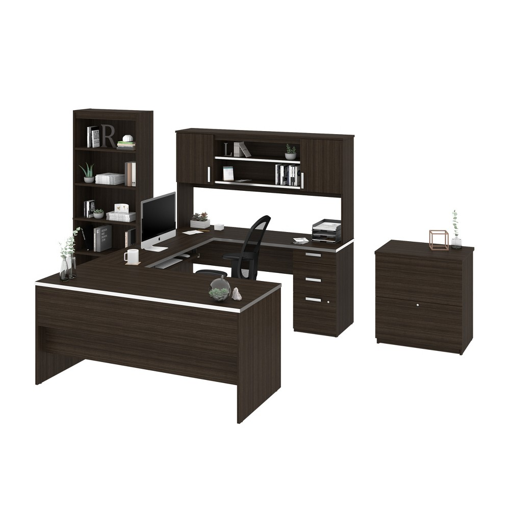 Image of Ridgeley U-Shaped Desk with File Cabinet and Bookcase Dark Chocolate - Bestar, Dark Brown