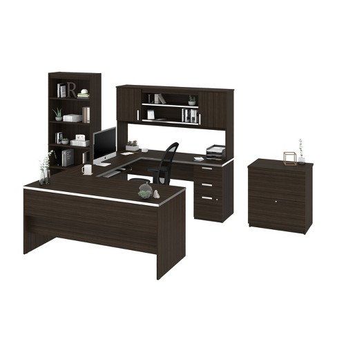 Ridgeley U Shaped Desk With Lateral File And Bookcase Bestar
