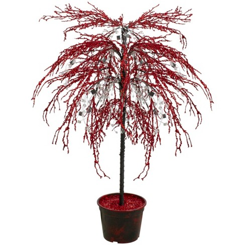CMI 3.8' Unlit Artificial Christmas Tree Red Holiday Crystallized Potted Glitter - image 1 of 3