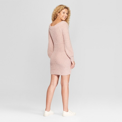 Womens Long Sleeve Off The Shoulder Eyelash Sweater Dress Almost