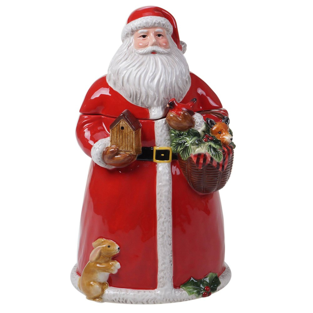 Top 72oz Earthenware Magic of Christmas Santa Cookie Jar - Certified International