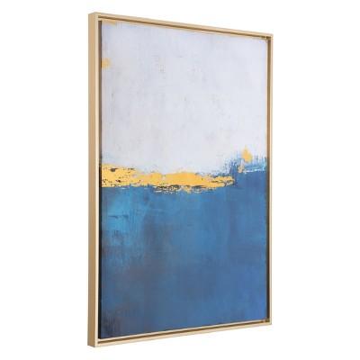 ZM Home 38  Coastal Rectangular Framed Canvas Blue