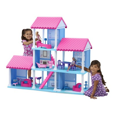 American Plastic Toys Fashion Doll Delightful Doll House w/ 25 Furniture Pieces
