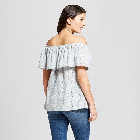 434c1114f3a001 Women's Short Sleeve Eyelet Off The Shoulder Top - Knox Rose™ Dusty Teal :  Target