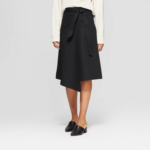 Women's Striped A-Line Wrap Skirt - Prologue™ Black - image 1 of 3