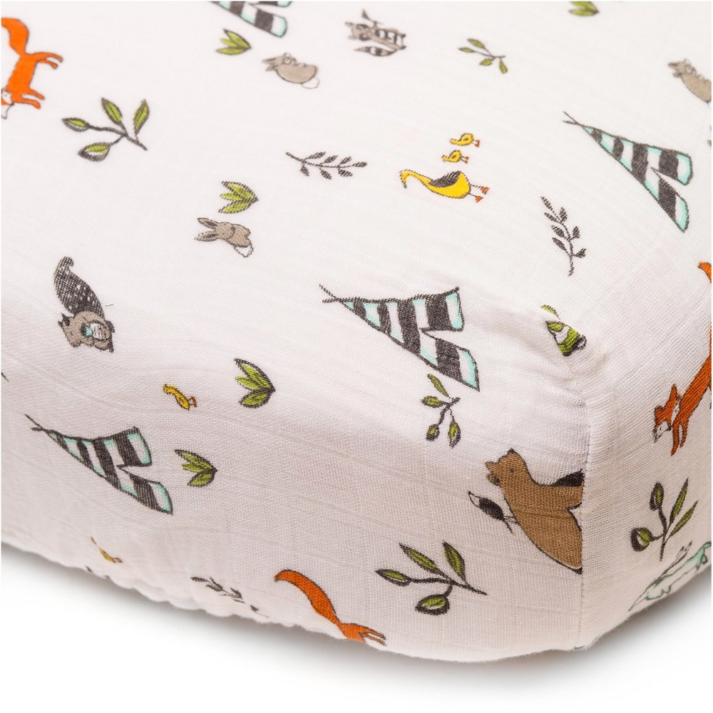 Image of Little Unicorn Fitted Crib Sheet - Forest Friends, Multi-Colored