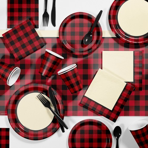 Black and White Checkered Party Supplies 16 Guest Plates Cups Napkins Utensils