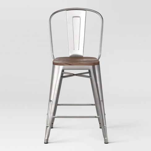 Outstanding 24 Carlisle Metal Counter Stool With Wood Seat Natural Threshold Pdpeps Interior Chair Design Pdpepsorg