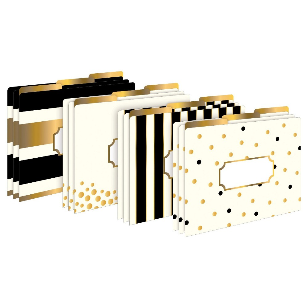Barker Creek File Folder Set 12ct - Black, White & Gold, Ivory