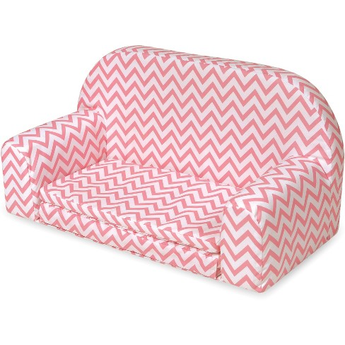 Badger Basket Upholstered Doll Sofa with Foldout Bed - Pink Chevron - image 1 of 8